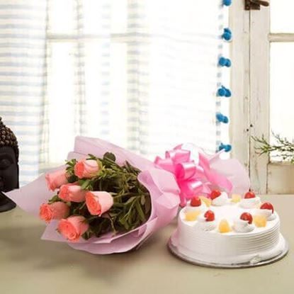 Picture of Cake and Flower Combo 6