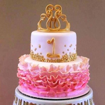 Picture of First Birthday Baby Girl Cake 1