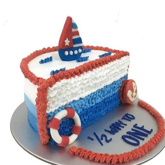 Astounding Half Nautical Theme Cake Online Online Cake Delivery Order Funny Birthday Cards Online Inifodamsfinfo