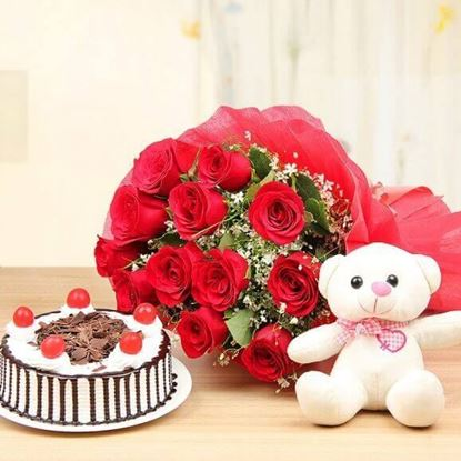 Picture of Cake, Teddy & Flowers