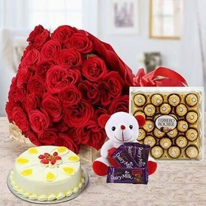 Picture of Cake, Teddy, Flowers & Chocolate