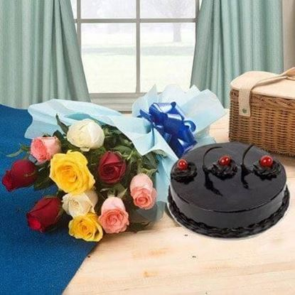 Picture of Cake and Flower Combo 10