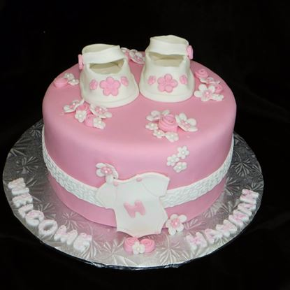 Picture of Pink Baby Shoe Cake 1