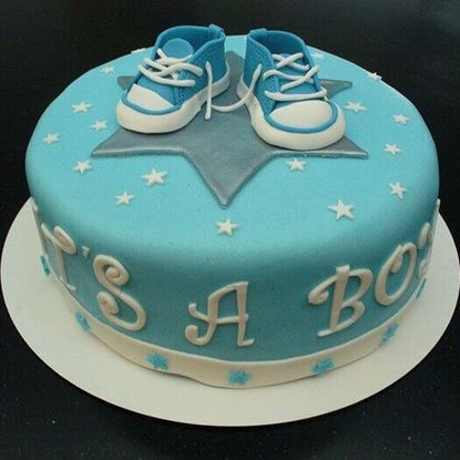 Picture of Blue Baby Shoe Cake