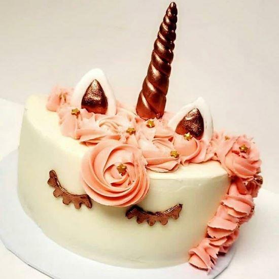 Peach Unicorn Half Birthday Cake. Infinity Cakes -To Cakes ...